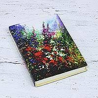 Handmade paper journal, 'Valley Garden' - Hardcover Paper Journal with a Floral Image from India