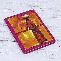 Handmade paper journal, 'Fetching Water' - Journal with Printed Designs from India