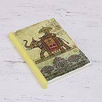 Handmade paper journal, 'Royal Ride' - Handcrafted Hardcover Printed Elephant Journal from India
