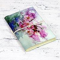Handmade paper journal, 'Dreamy Flowers' - Printed Journal with Floral Designs from India