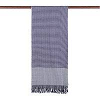 Cashmere scarf, 'Mesmerizing Navy' - Fringed Cashmere Wrap Scarf in Navy and Linen from India