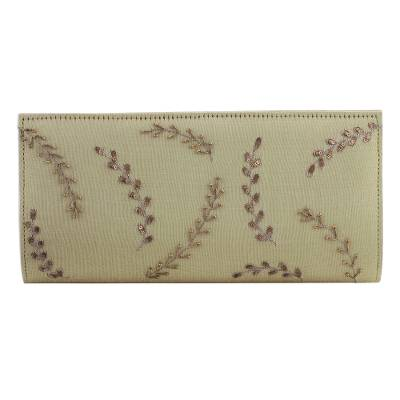 Beaded Clutch Handbag in Sand from India
