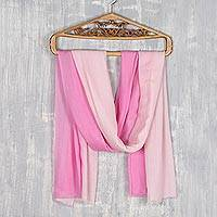 Wool shawl, 'Pink Ombré' - Pink Ombre Wool Shawl from India Artisan
