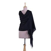 Wool shawl, 'Simplicity in Black' - Women's Lightweight Solid Black Classic Wool Shawl