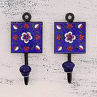 Ceramic coat hooks, 'Floral Burst' (pair) - Two Floral Blue Ceramic Coat Hooks from India