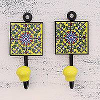 Ceramic coat hooks, 'Floral Energy' (pair) - Two Floral Ceramic Coat Hooks in Yellow from India
