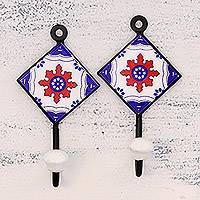 Ceramic coat hooks, 'Floral Diamonds' (pair) - Pair of Hand-Painted Ceramic Coat Hooks from India