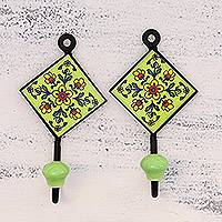 Ceramic coat hooks, 'Dainty Flowers' (pair) - Pair of Floral Painted Ceramic Coat Hooks from India