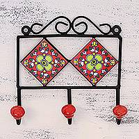 Ceramic coat rack, 'Red Garden' - Hand-Painted Floral Ceramic Coat Rack from India