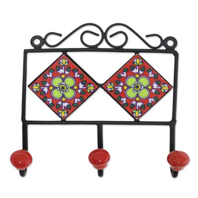 Ceramic coat rack, 'Red Garden' - Hand-Painted Floral Ceramic Coat Rack from India