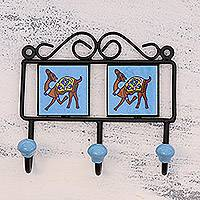 Ceramic coat rack, 'Prancing Camels' - Ceramic Coat Rack Painted with Camel Motifs from India
