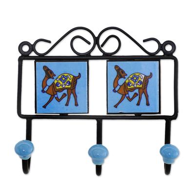 Ceramic coat rack, 'Prancing Camels' - Ceramic Coat Rack Painted with Camel Motifs from India