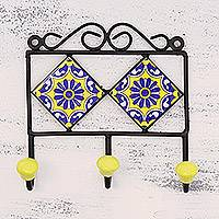 Ceramic coat hanger, 'Royal Blossoms' - Painted Floral Ceramic Coat Hanger in Yellow from India