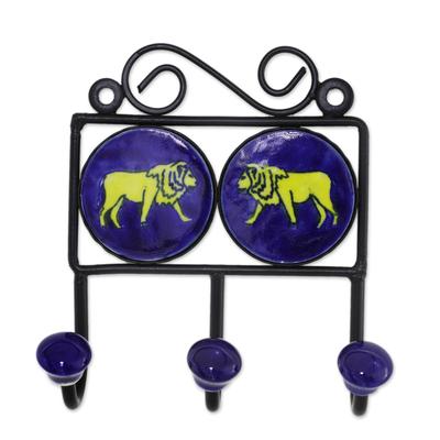 Ceramic coat rack, 'Lion's Roar' - Ceramic Coat Rack Painted with Lion Motifs from India
