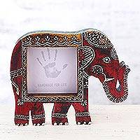Wood photo frame, 'Holi Elephant in Red' (4x4) - Colorful Elephant Motif Square Photo Frame (4x4)