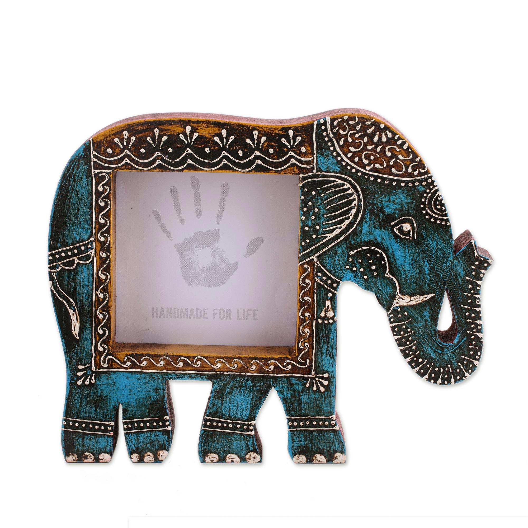 Blue Wood Elephant Photo Frame From India 4x4 Holi Elephant In Blue Novica