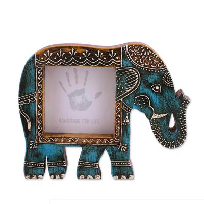 Wood Photo Frame Holi Elephant In Blue 4x4 Blue Wood