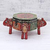 Wood decorative box, 'Elephants on the March' - Hand Painted and Carved Octagonal Elephant Box