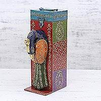 Wood bottle holder, 'Festive Peacock' - Peacock Themed Hand Painted Wood Bottle Holder Box