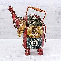 Iron decorative kettle, 'Elephant Charm' - Decorative Iron Elephant Kettle Handcrafted in India