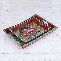 Decorative wood trays, 'Festival of Colors' (pair)