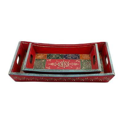 Decorative wood trays, 'Festival of Colors' (pair) - Wood Trays with Hand Painted Motifs (Pair)