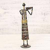 Iron tealight candle holder, 'Carrier of Light' - Hand Painted Rustic Iron Tealight Candle Holder from India