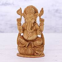 Wood sculpture, 'Divine Lord Ganesha' - Hand Carved Lord Ganesha Sculpture from India