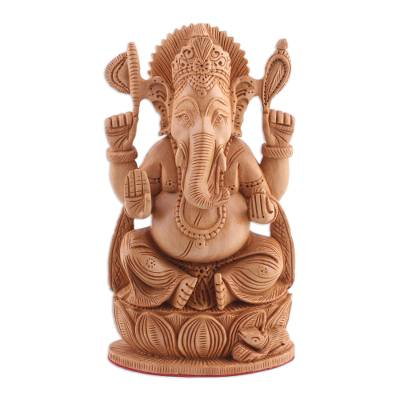 Wood sculpture, 'Divine Lord Ganesha' - Hand Carved Lord Ganesha Sculpture from India