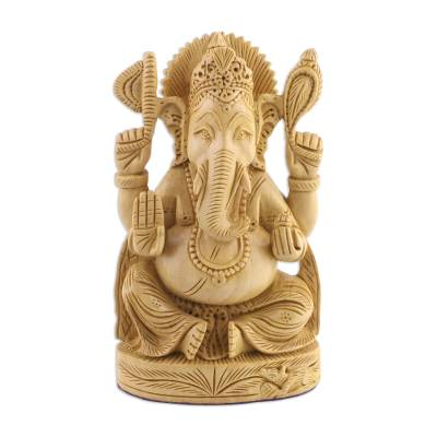 Wood sculpture, 'Serene Ganesha' - Kadam Wood Statuette of Ganesha Seated