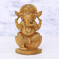 Wood sculpture, 'Deva Ganesha' - Ganesha Statuette Hand Carved from Kadam Wood