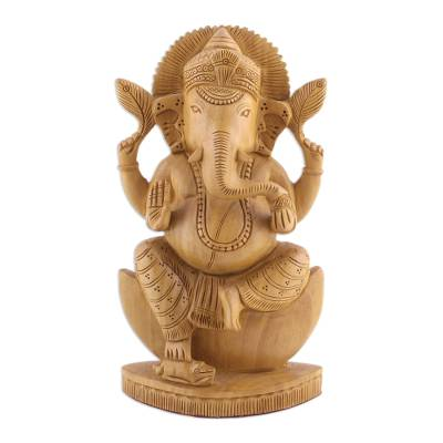Wood sculpture, 'Deva Ganesha' - Ganesha Statuette Hand Carved from Kadam Wood