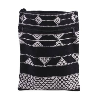 Hand Woven Black and White Cotton Sling Bag