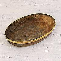 Decorative horn catchall, 'Telangana Journey' - Oval Shaped Natural Horn Catchall with Brass Rim