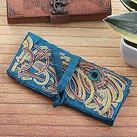 Silk jewelry roll, 'Royal Peacock' - Peacock Theme Turquoise Embroidered Silk Jewelry Roll