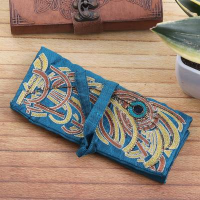 Silk jewelry roll, 'Turquoise Royal Peacock' - Peacock Theme Turquoise Embroidered Silk Jewelry Roll