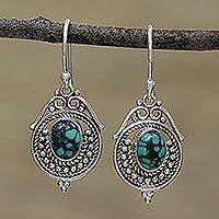Sterling silver dangle earrings, 'Majestic Circles'