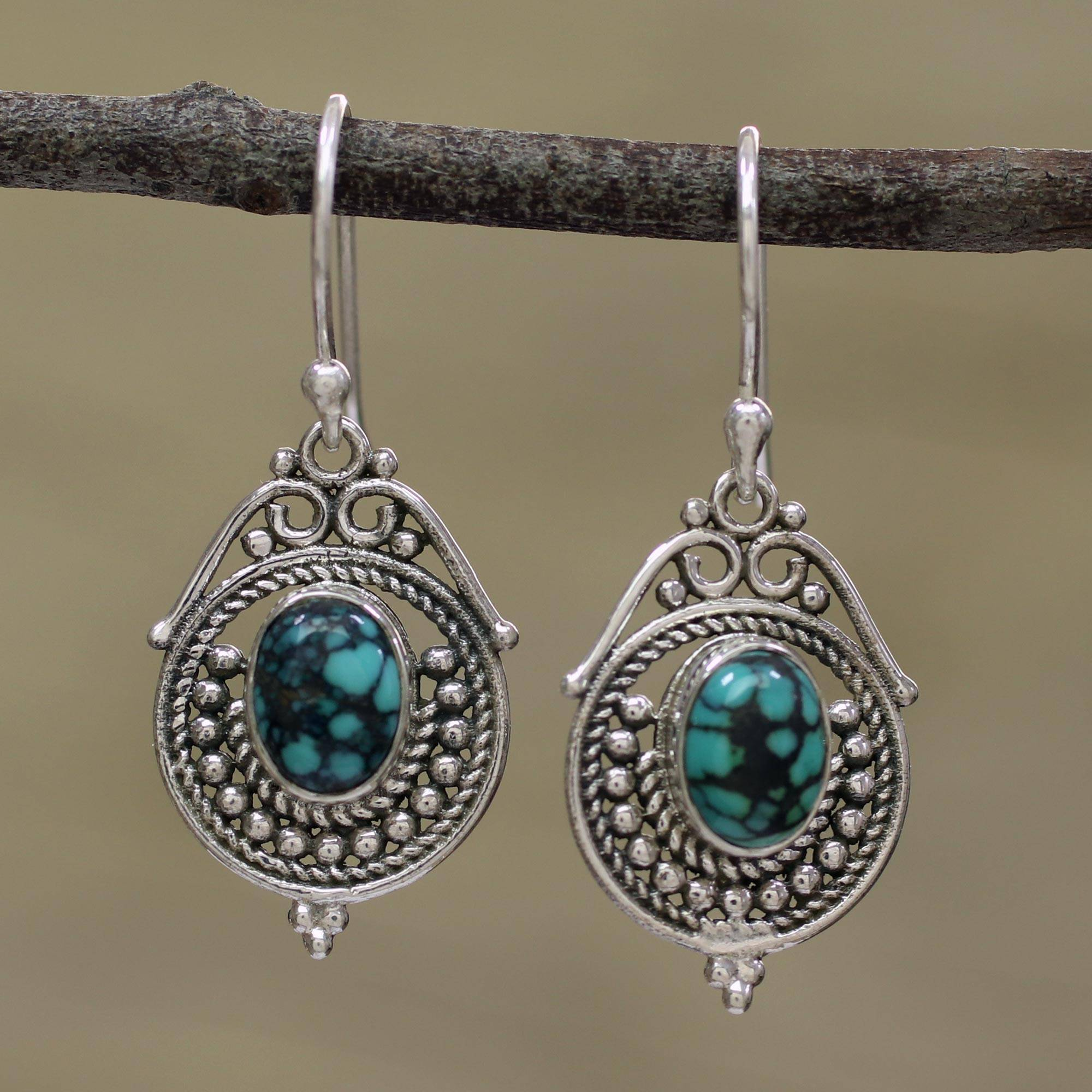 c0d4fdafc Sterling Silver and Composite Turquoise Earrings from India,