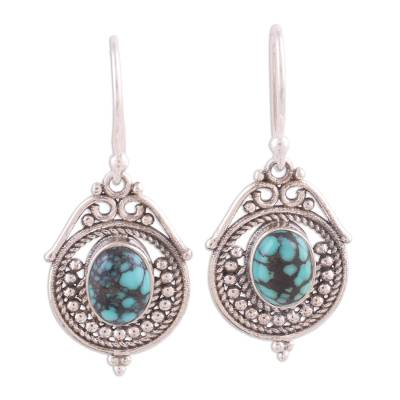 Sterling Silver and Composite Turquoise Earrings from India