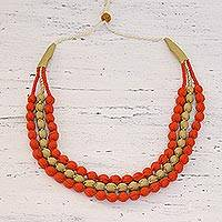 Multi-strand fabric wrapped beaded necklace, 'Harmony in Orange' - Handcrafted Multi-strand Fabric Wrapped Beaded Necklace