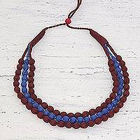 Multi-strand fabric wrapped beaded necklace, 'Kolkata Glamour' - Indian Three Strand Fabric Wrapped Beaded Necklace
