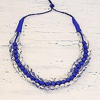 Multi-strand fabric wrapped beaded necklace, 'Burst of Blue' - Blue and White Three Strand Fabric Wrapped Beaded Necklace
