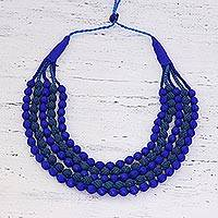 Beaded multi-strand necklace, 'River Run' - Bohemian Multi-Strand Beaded Fabric Covered Necklace