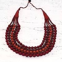 Cotton beaded multi-strand necklace, 'Maroon Alliance' - Maroon Hued Fabric Beaded Necklace from India