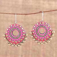 Ceramic dangle earrings, 'Pink Dream' - Handcrafted Pink Ceramic Dangle Earrings from India