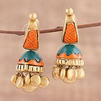Ceramic dangle earrings, 'Golden Desire' - Handcrafted Ceramic Dangle Earrings from India