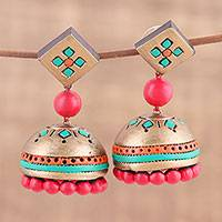Ceramic dangle earrings, 'Golden Luxury' - Ceramic Dangle Earrings Handcrafted in India