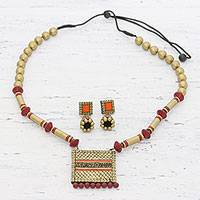 Ceramic jewelry set, 'Golden Divinity' - Hand-Painted Gold-Tone Ceramic Jewelry Set from India
