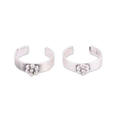 Floral Motif Sterling Silver Toe Rings from India