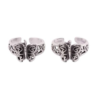Sterling silver toe rings, 'Butterfly Twins' (pair) - Butterfly Openwork Sterling Silver Toe Rings (Pair)